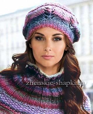 Берет и пончо описание вязания спицами для женщин