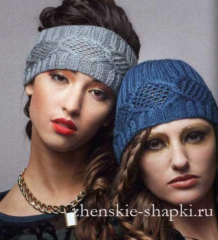 схемы вязания женских шапок спицами 2017