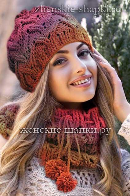 Модные вязаные шапки - описание шапки