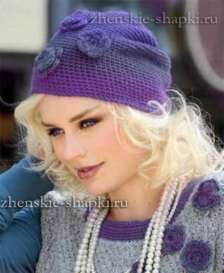 Женская вязаная шапочка крючком
