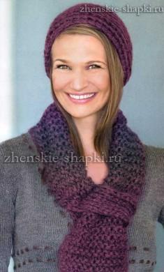 Вязание шапки и шарфа для женщины 50 лет