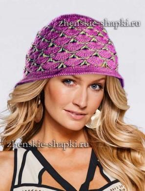 Женская вязаная шляпка - схемы вязания крючком