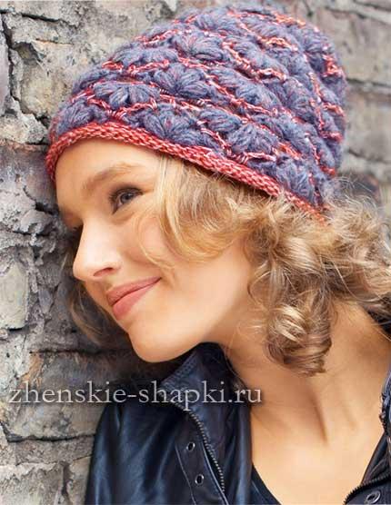 Схема вязания шапки узором Ракушки