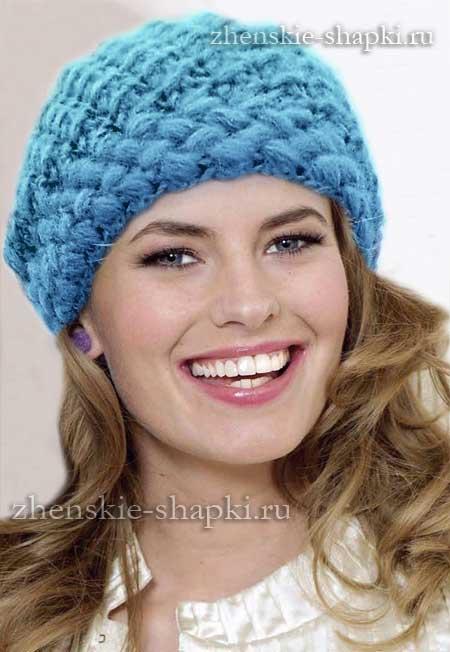 Вязать крючком женскую шапку со схемой
