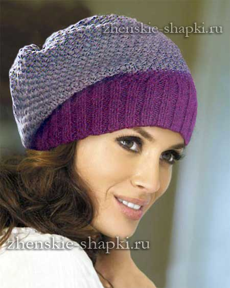 Женская шапка-носок вязанная спицами