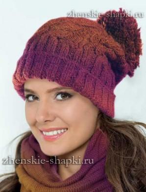 Молодежная шапка с косами схема вязания спицами