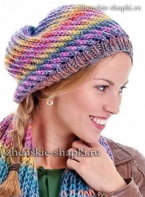 Описание вязания спицами шапки и шарфа