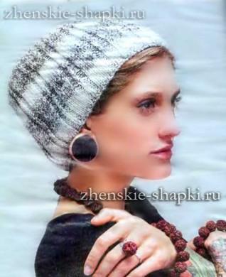 Простая вязаная шапка-бини