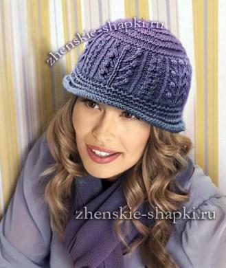 Схема вязания женской шапки спицами 2017
