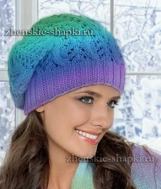 Вязание шапки бини с косами спицами. Схемы и описание