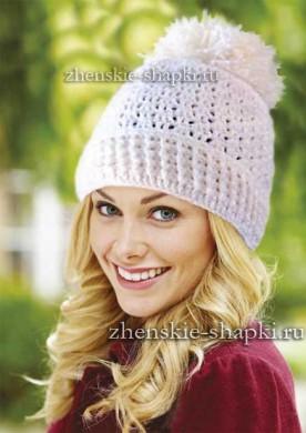 Вязание женской шапки крючком со схемами