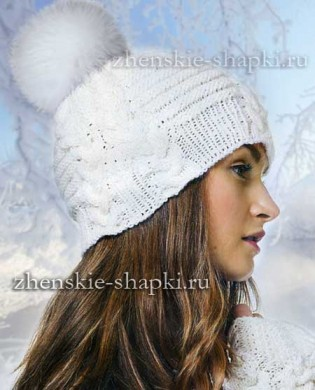 Зимняя шапка спицами с косами схема
