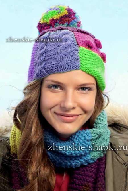 Описание вязания молодежной шапки и шарфа