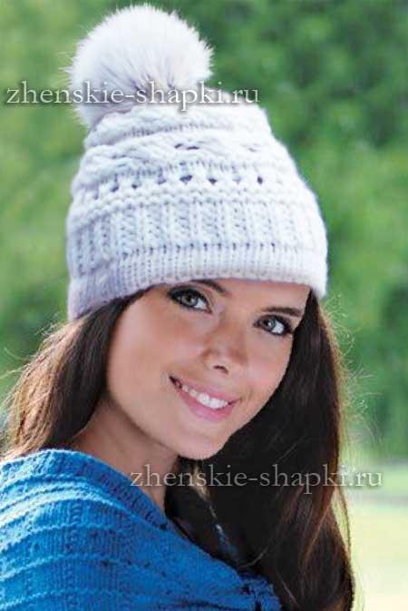вязание молодежной шапки для девушки спицами видео