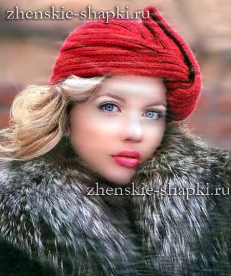 Вязание шапка чалма схема вязания спицами 552