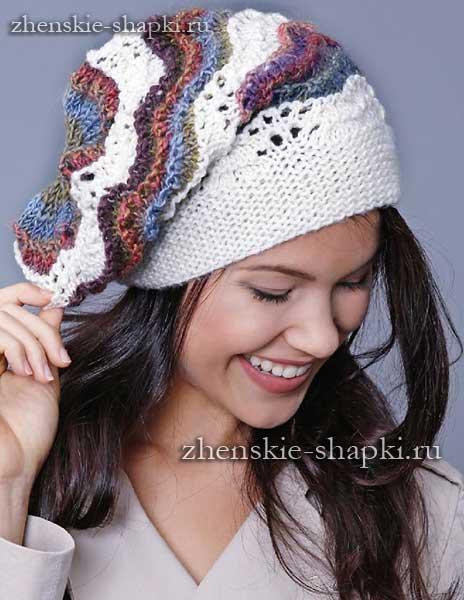 Женская шапочка с узором павлинье перо схема и описание