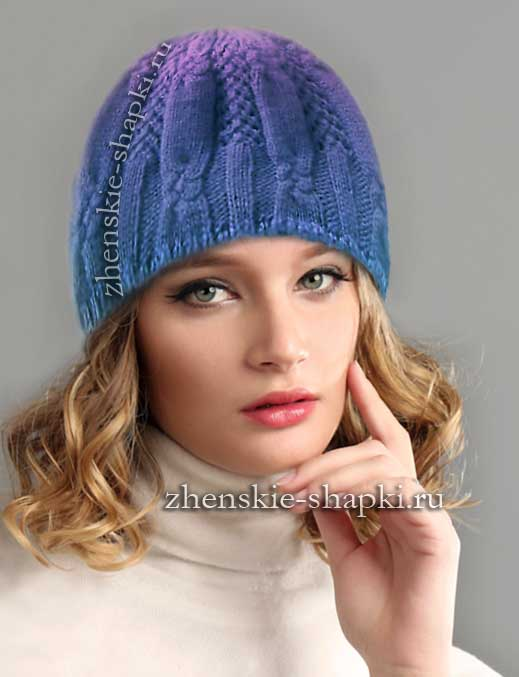 Вязание спицами узоры для женских шапок описание 155