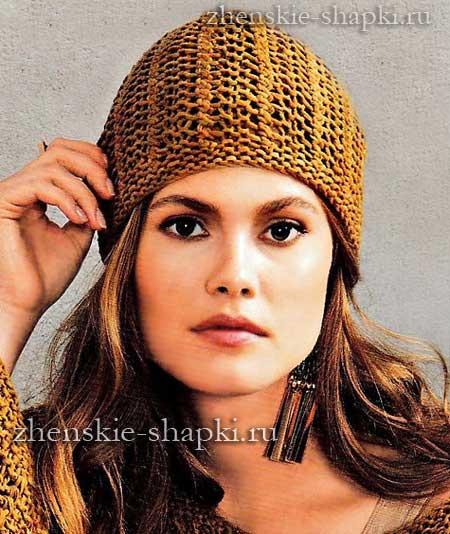 Вязание спицами шапки на осень - схема и описание