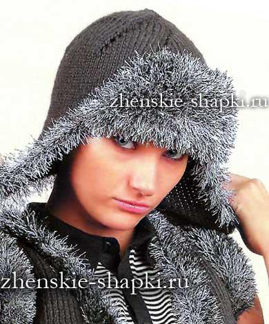 Вязание спицами зимней шапки ушанки