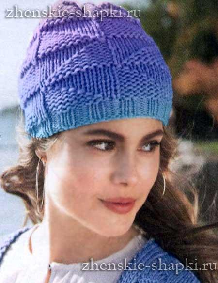 Женская шапка вязанная толстыми спицами