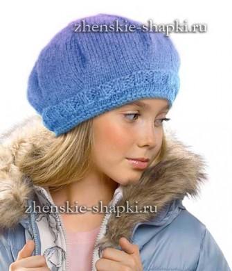 Связать шапку для девочки спицами