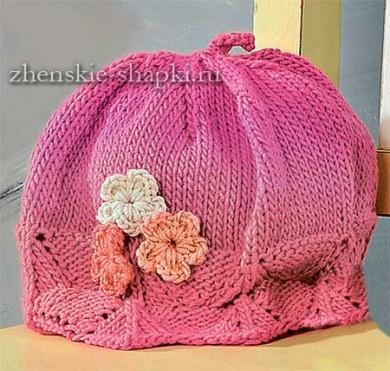 Вязаная шапочка спицами для девочки 1 года