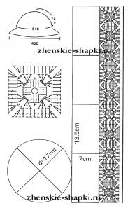Вязание крючком комбинированной шляпки схемы