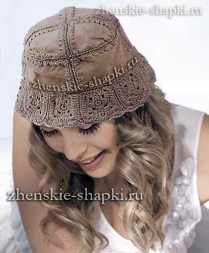 Вязание крючком комбинированной шляпки