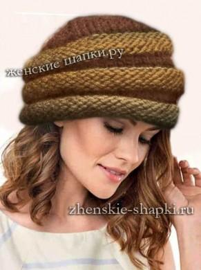 Связать шапку спицами