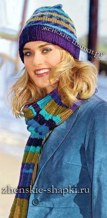 Женская шапка и шарф спицами схема жаккардового узора