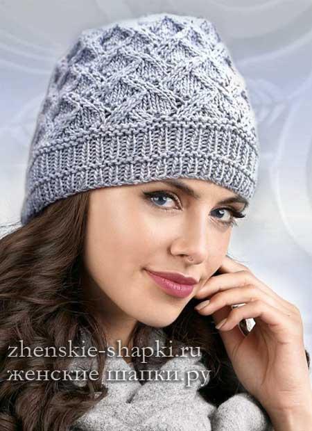 Женская шапка спицами описание