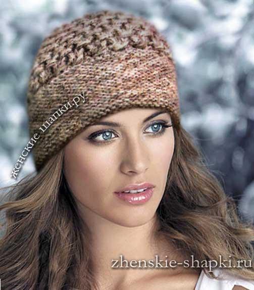 Теплая женская шапка спицами