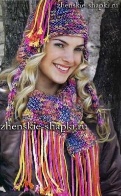 Зимняя шапка с ушками и шарф