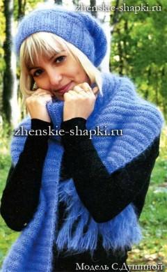 Вязание спицами зимней шапки и шарфа из мохера