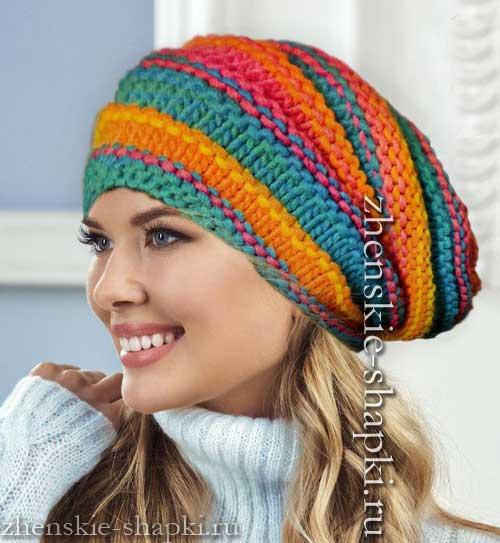 модная молодежная шапка 2016 2017 цветное вязание спицами