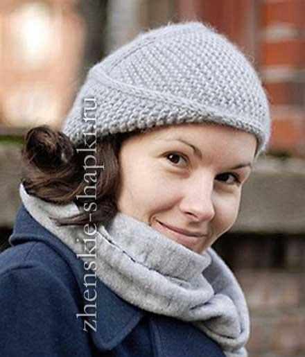 оригинальная женская шапка спицами с описанием