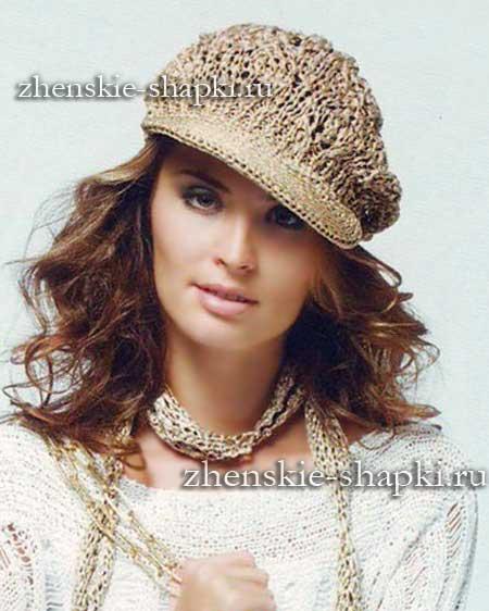 женская вязаная кепка с козырьком описание вязания шапки схемы