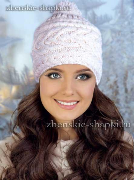 зимняя вязаная шапка спицами